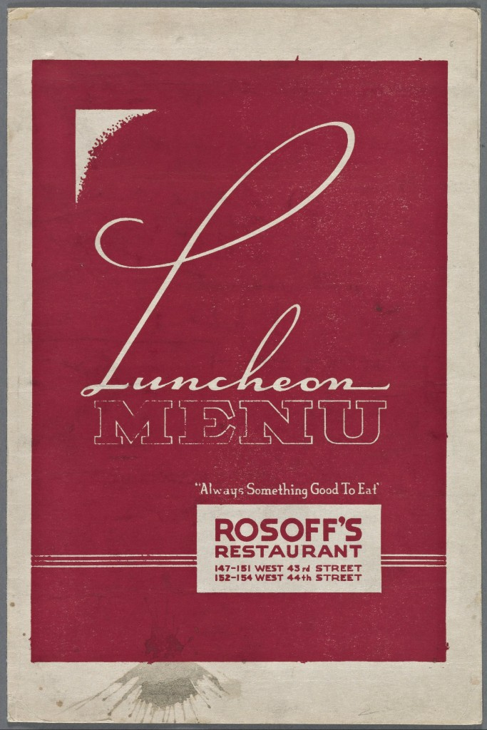 Rosoffs REstaurant menu 1947 cover