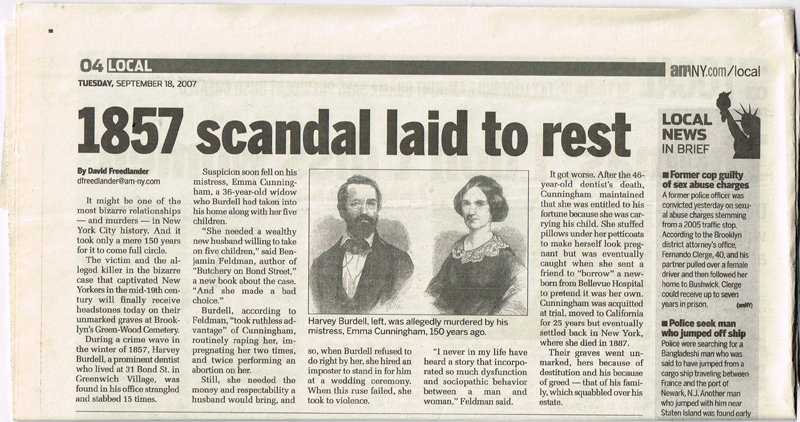 amNY newspaper - 1857 Scandal Laid to Rest